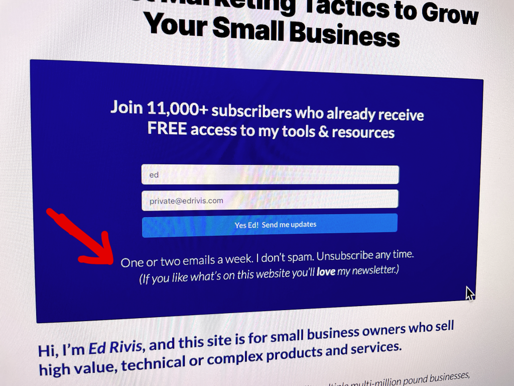 Example of a web form with text underneath, explaining how often a subscriber will receive emails