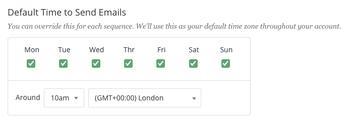 Screenshot showing ConvertKit options for choosing email send times